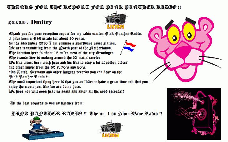 Pink Panther Radio Info.