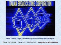 e-QSL IBC Italian Broadcasting Corporation Италия Германия Июнь Июль 2016 года