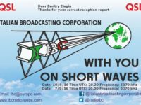 e-QSL IBC Italian Broadcasting Corporation Италия Август Сентябрь 2016 года