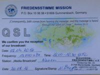 QSL Evangelische Missions Gemeinden Миссия Friedensstimme Германия Апрель 2016 года