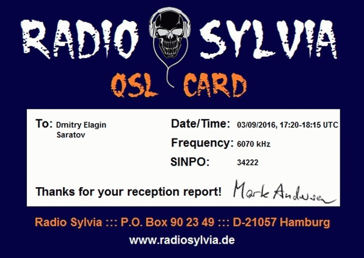 Radio Sylvia eQSL for Dmitry Elagin
