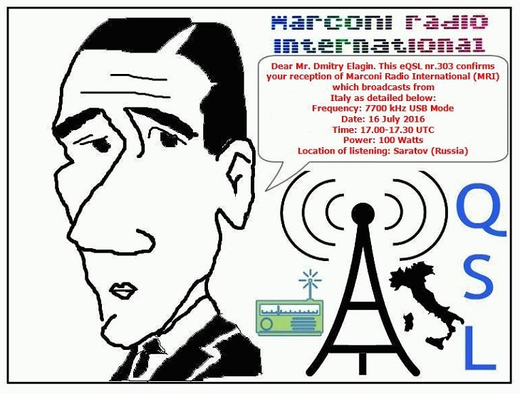 eQSL nr 303 to Dmitry Elagin