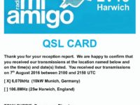 e-QSL Radio Six International Radio Mi Amigo LV18 Harwich Англия 7 Августа 2016 года