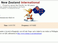 e-QSL Radio New Zealand International Новая Зеландия RNZI Октябрь 2016 года