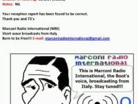 e-QSL Marconi Radio International Италия Сентябрь — Декабрь 2016 года