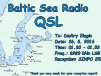 e-QSL Baltic Sea Radio Финляндия Август 2016 года
