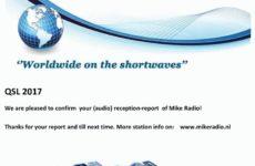 e-QSL Mike Radio Нидерланды 2016 — 2017 год