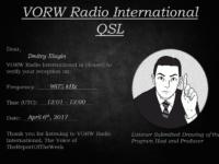 e-QSL The Voice of TheReportOfTheWeek Узбекистан Апрель 2017 года