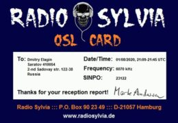 e-QSL Radio Sylvia Германия Май 2017 — Январь 2019  — Август 2020 года