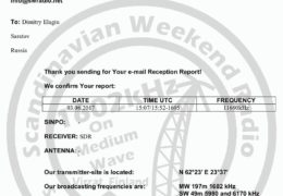 e-QSL Scandinavian Weekend Radio Финляндия Июнь 2017 года