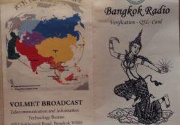 QSL Bangkok Radio Volmet Таиланд 2015 год