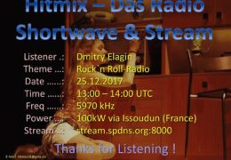 e-QSL Pirate Studio 52 HitMix Франция Декабрь 2017 года