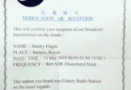 QSL Taiwan Fishery Radio Тайвань Май 2018 года