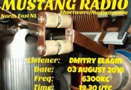 e-QSL Mustang Radio Нидерланды Август 2018 года