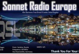 e-QSL Sonnet Radio Europe Германия Октябрь 2018 года