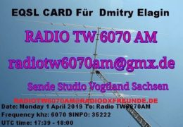 e-QSL Radio TW6070AM Германия Апрель 2019 года