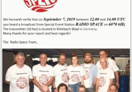 e-QSL Radio Space Бельгия Германия Сентябрь 2019 года