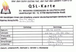 QSL Evangelische Missions Gemeinden Германия Декабрь 2019 года