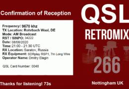 e-QSL Retromix 266 Германия Июль Август 2020 года