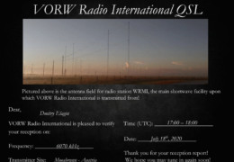 e-QSL VORW Radio International Австрия Июль 2020 года