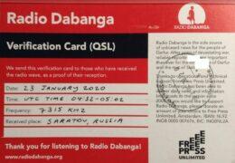 QSL Radio Dabanga Италия Январь 2020 года