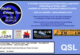 e-QSL Radio Emma Toc Германия Август 2020 — Июль 2021 года