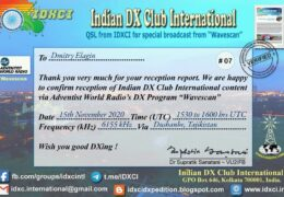e-QSL Indian DX Club International AWR Wavescan Ноябрь 2020 года