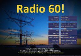 e-QSL Radio60 Hitmix Radio Германия Ноябрь 2020 года