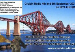e-QSL Cruisin Radio Великобритания Август Сентябрь 2021 года